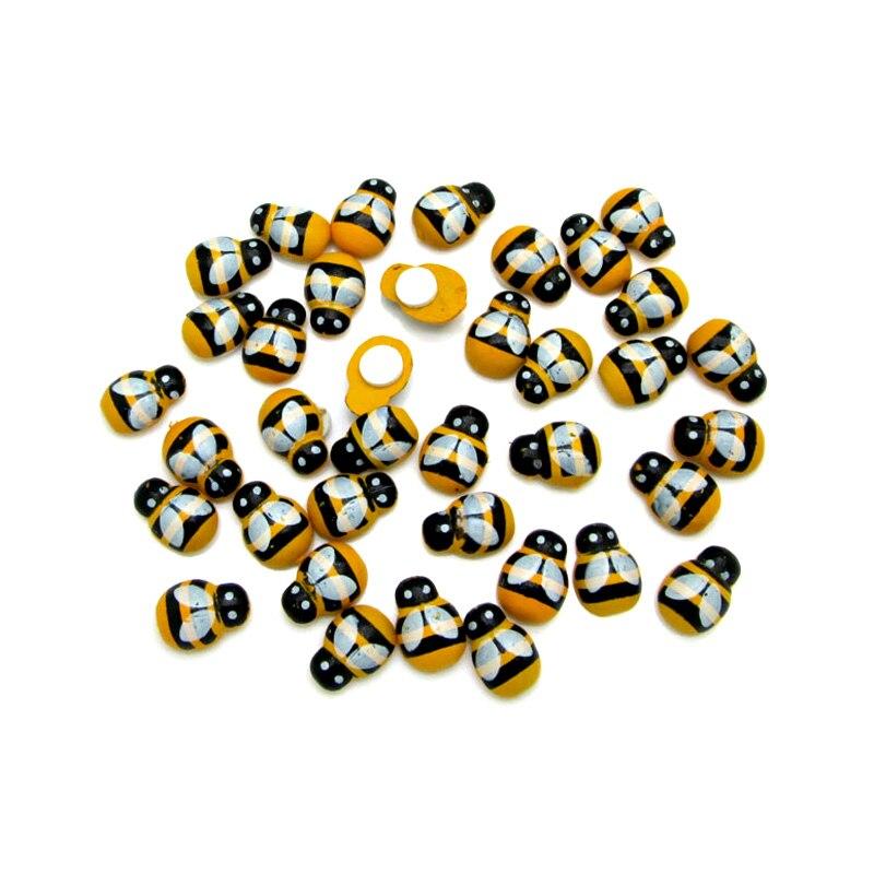 LF 100 шт Смешанные 9x13 мм деревянные пчелы с плоским основанием Кабошон Украшения ручной работы для скрапбукинга Cardmaking милые DIY аксессуары