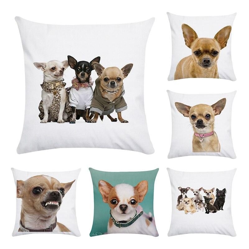 Capa de Almofada Animais de estimação do cão da Chihuahua Impresso 45x45 cm cotton & Poliéster Fronhas Decorativas Tampa Do Sofá Em Casa fronha CR160