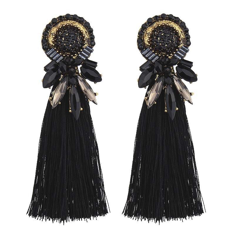 2018 трендовые новые женские серьги со стразами и кисточками, винтажные богемные эффектные Свадебные украшения с бахромой 4C1006