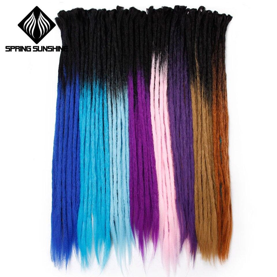Spring sunshine Handmade Dreadlocks Hair Extensions 1 Strands 24 inch Ombre Crochet Hair Synthetic Crochet Braid Hair For Women