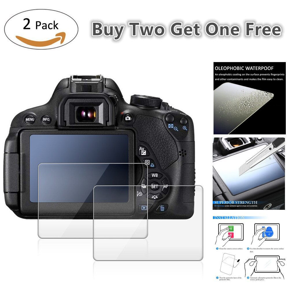 Paquete de 2 protectores de pantalla LCD de vidrio templado 9H para Pentax Q Q7 Q10 Q-S1 KP K-P K-70 K70 K-S2 KS2 K-1 cámara Digital