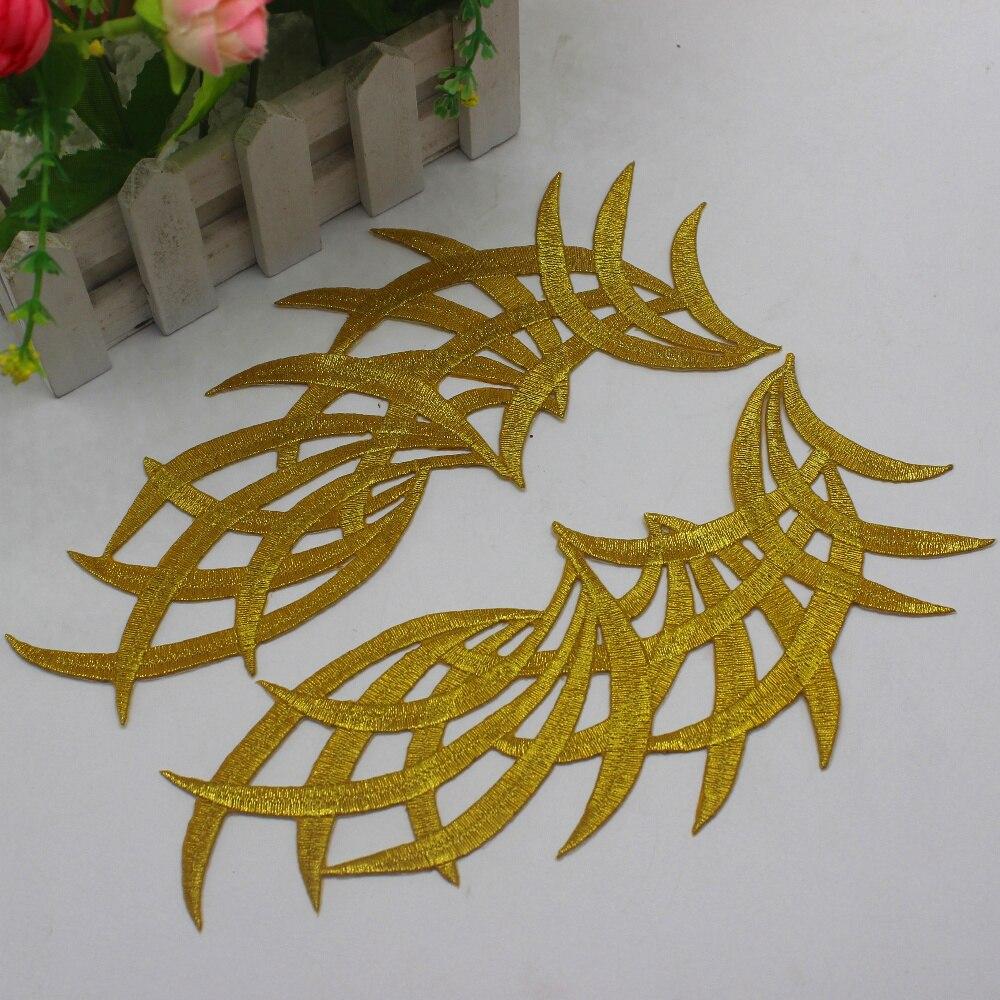YACKALASI, 3 par/lote bordado dorado, apliques de encaje, parches para disfraz de Cosplay, flor dorada plateada de hierro en los bordes Venise, 21,5 cm * 9cm