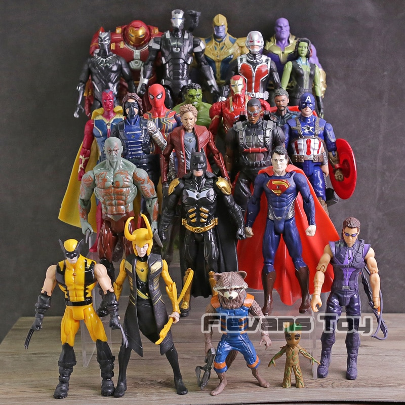 Vengadores Infinity War Thanos Iron Man Spiderman Capitán América Pantera Negra Viuda Negra PVC figuras juguetes 24 unids/set