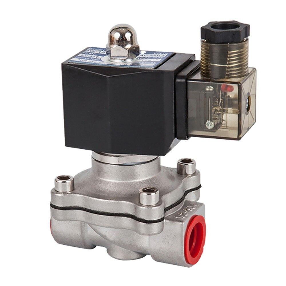 Dn15 a 50, válvula solenóide normalmente fechada, 304 válvulas de óleo de água de aço inoxidável, à prova de umidade, ac 110 v 220 v 380 v 24 v, dc 12 v 24 v