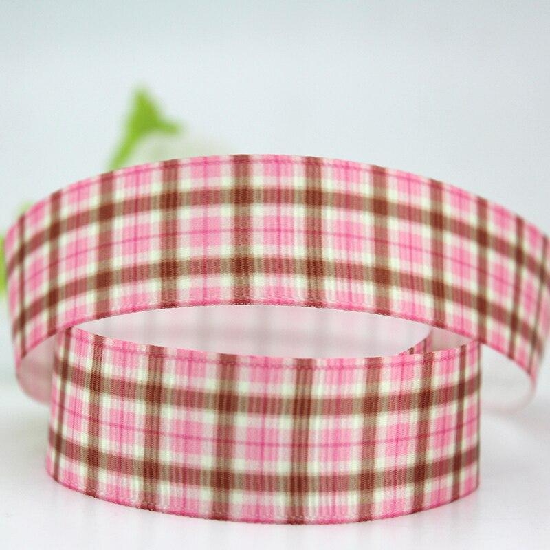 Free shipping pink tartan plaid printed christmas valentine decoration rosgrain ribbon 25 yards gift wrap hand material ribbons