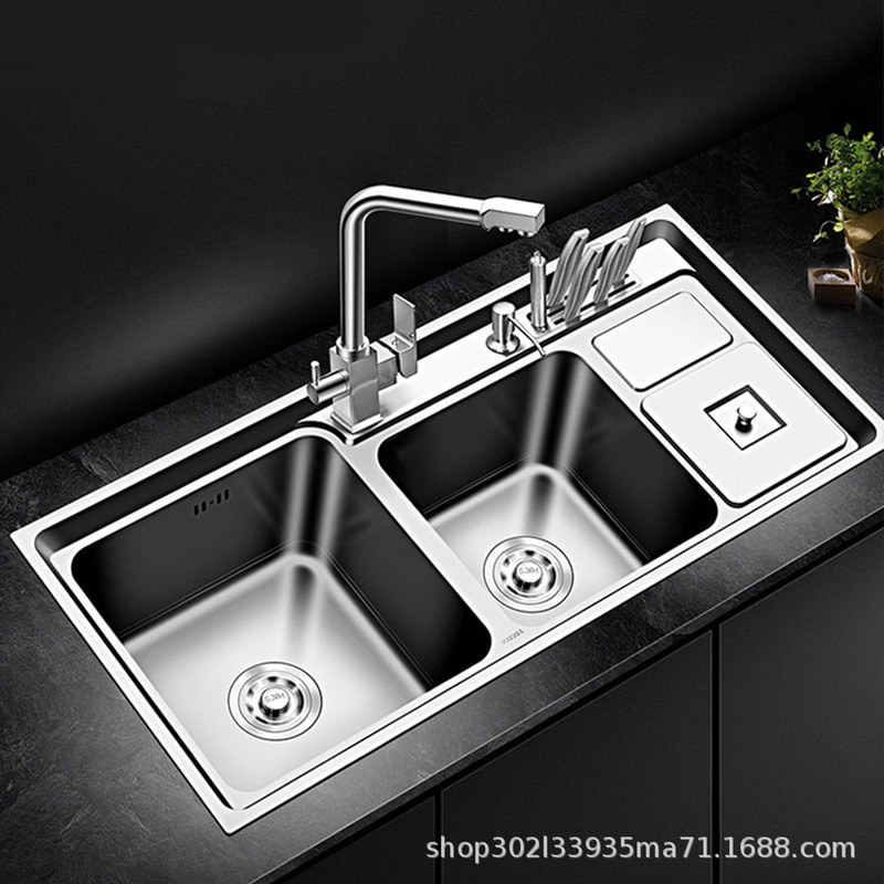 SUS304 Stainless Steel Kitchen Sink Double Bowl Thickness Sinks Kitchen Above Counter or Udermount Sinks Vegetable Washing Basin