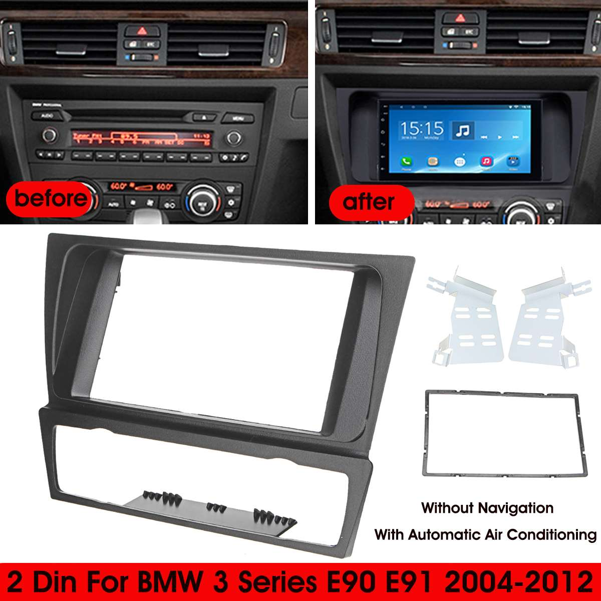 2Din Radio de coche Fascia PVC Marco de Panel CD DVD Dash de Audio cubierta Interior Trim para BMW Serie 3 E90 E91 E92 E93 2004 - 2012