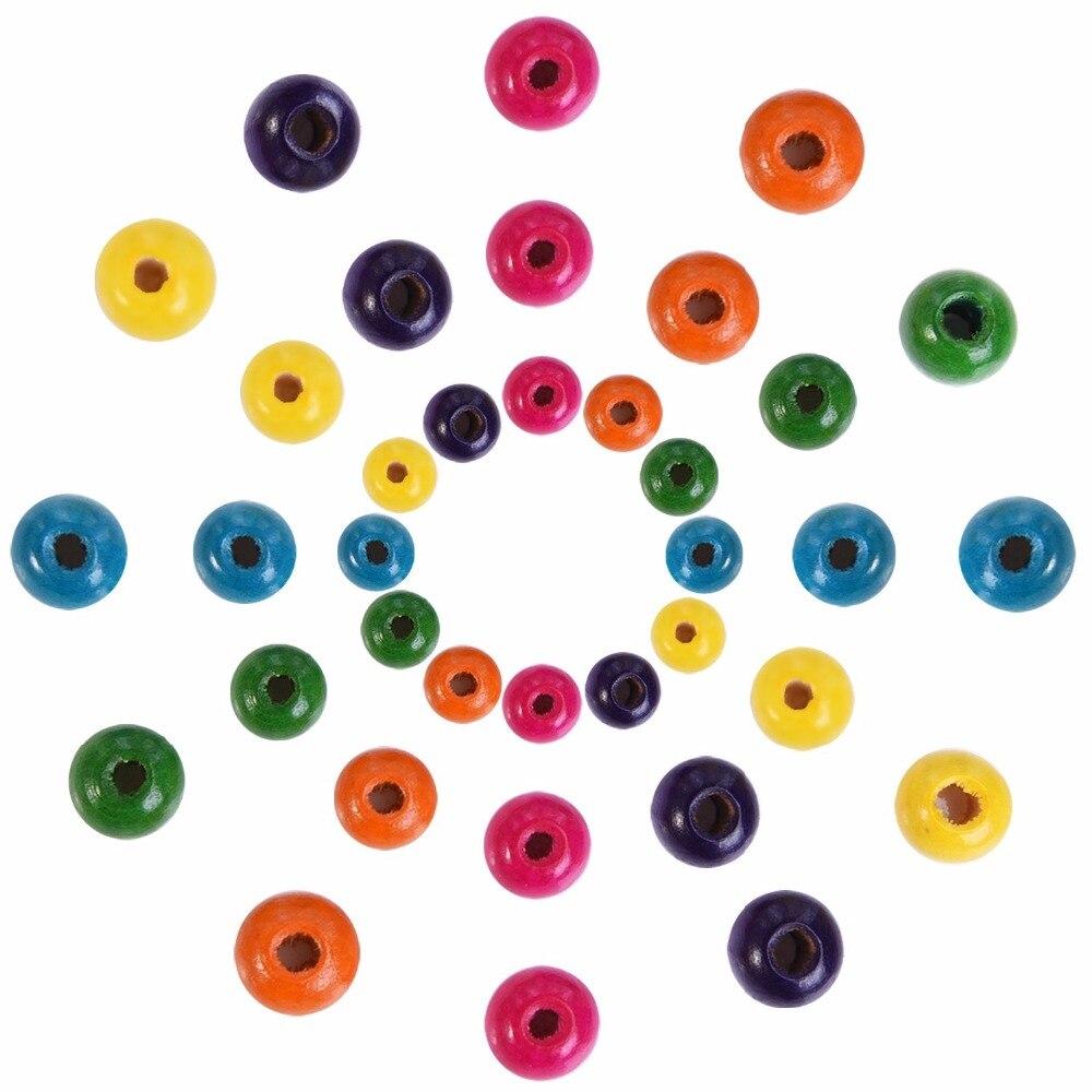 Conjunto de 1000 piezas para fabricación de joyas DIY, cuentas redondas de madera, surtido de colores, cuentas de madera de 8mm, 10 mm y 12 mm