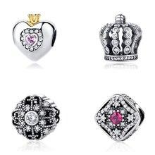 Original 100% 925 Sterling Silver Charm Bead Fairytale Crown Castle Princess Heart Charms Fit Pandora Bracelet Women Diy Jewelry