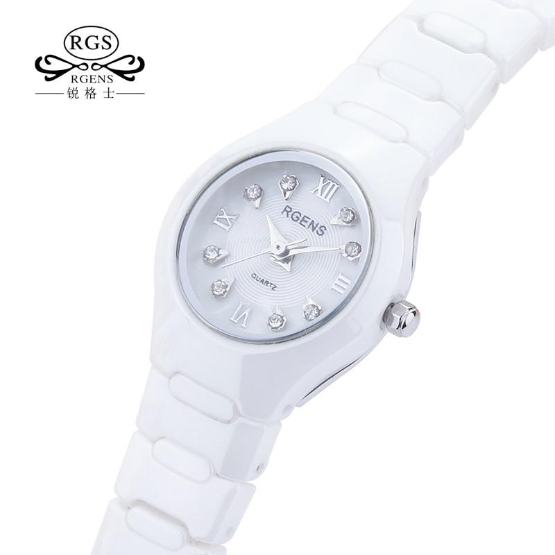 100% Керамика женские часы кварцевые черные белые RGENS женские наручные часы Роскошные бриллиантовые водонепроницаемые женские часы Citizen movement