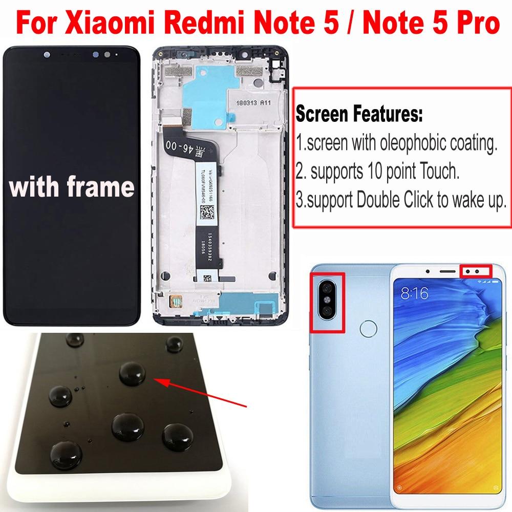 مجموعة شاشة LCD تعمل باللمس مع مستشعر زجاجي للإطار ، متوافق مع Xiaomi Redmi Note 5 Pro ، Note 5 ، جديد ، أفضل أداء