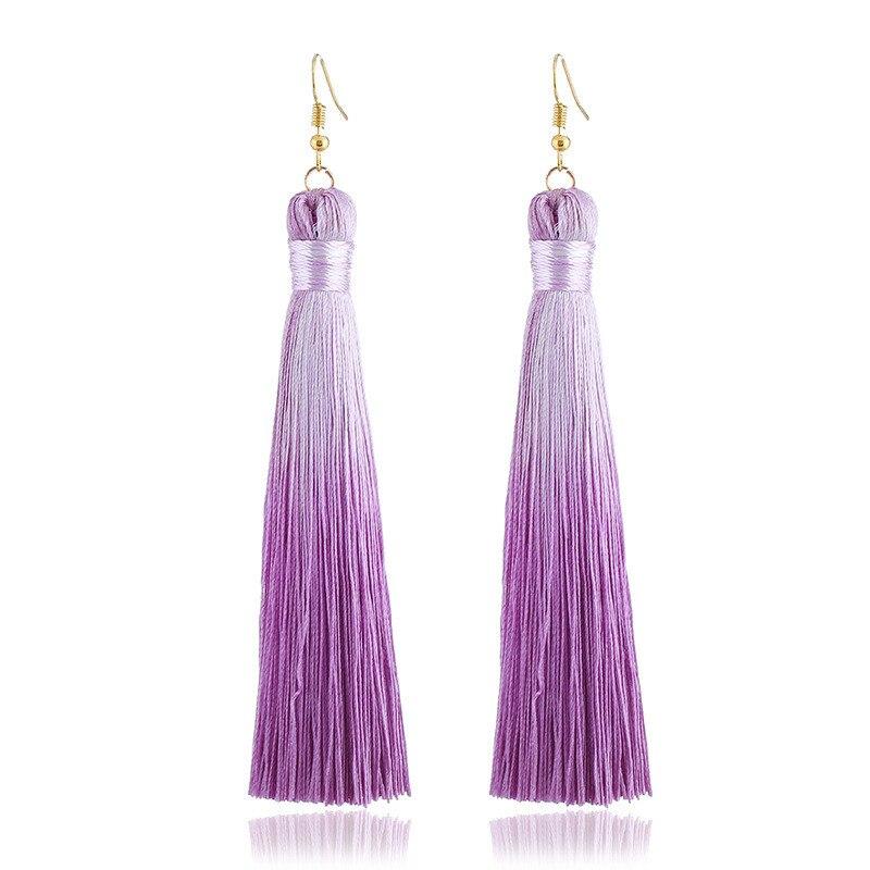 2 pares de pendientes de borla de Color bohemio LZHLQ para mujer, pendientes largos de seda de Color liso con flecos, Pendientes colgantes para boda, accesorios de joyería