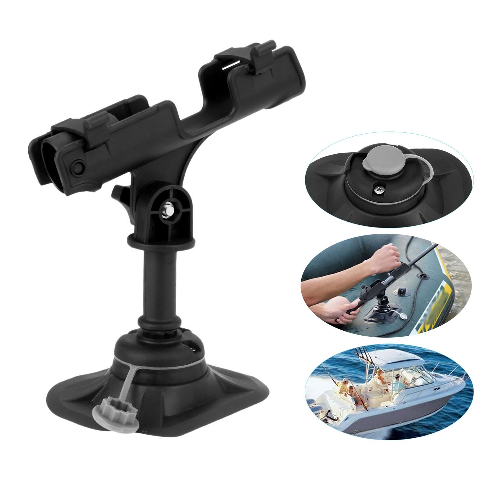 1 Pc Plastic Heavy Duty Boat Fishing Rod Rack Mount 360 Degree Adjustable Kayak Support Pole Stand Bracket Marine Yachts Boats