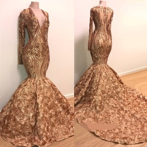 African Long Prom Dresses 2019 Sexy Sparkly Gold Sequins Long Sleeve V Neck Women Mermaid Evening Party Gowns For Black Girls