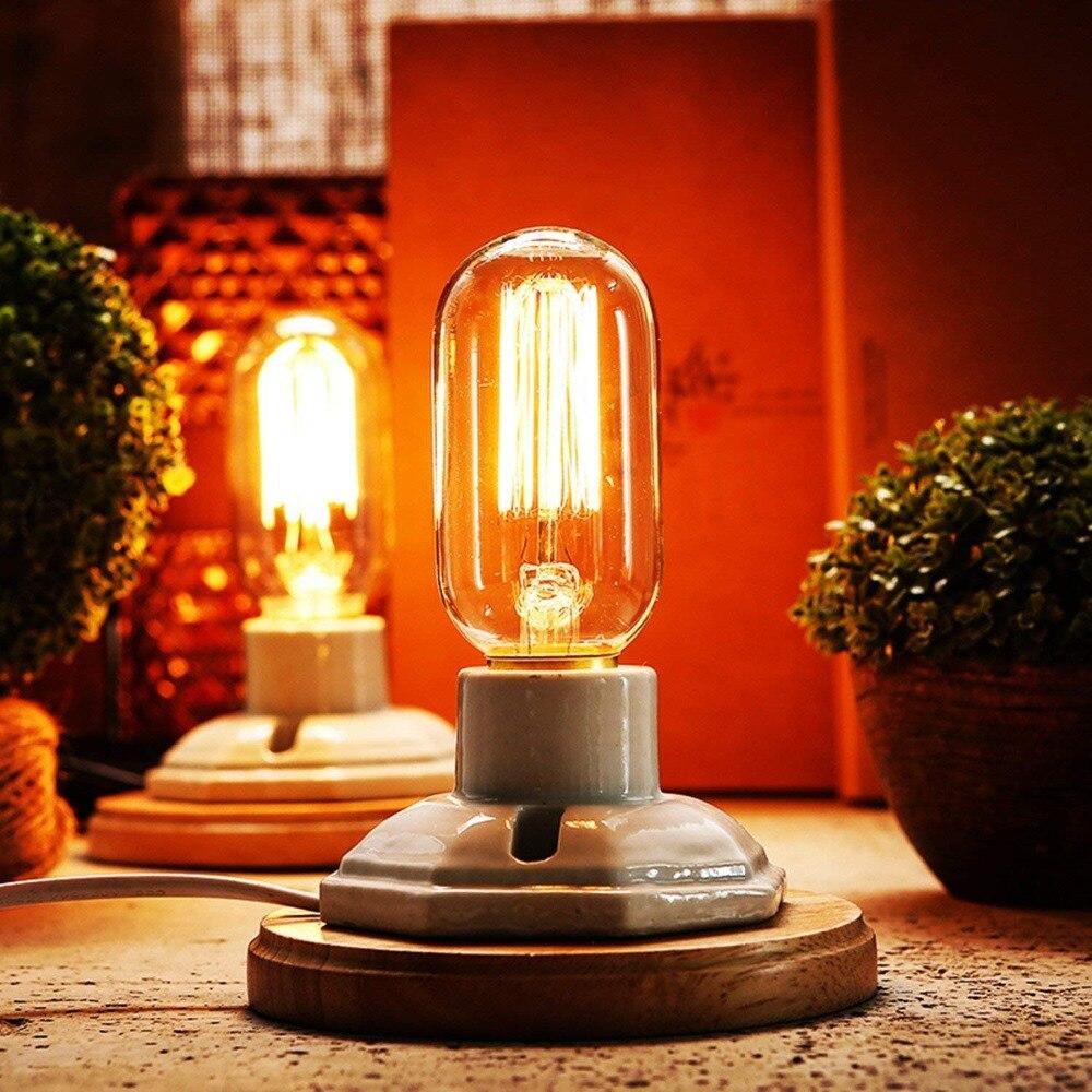 Cerámica blanca Vintage, Base de madera, lámparas de mesa con Base E27 (sin Blub), lámpara de escritorio Industrial, decoración del hogar, Bar, Hotel