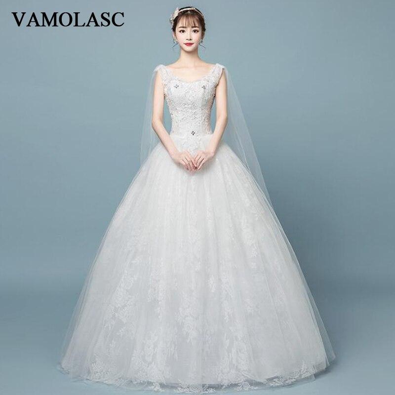 VAMOLASC-فستان زفاف من الدانتيل والترتر ، وفتحة رقبة على شكل V ، وثوب كرة من الكريستال ، وظهر عاري