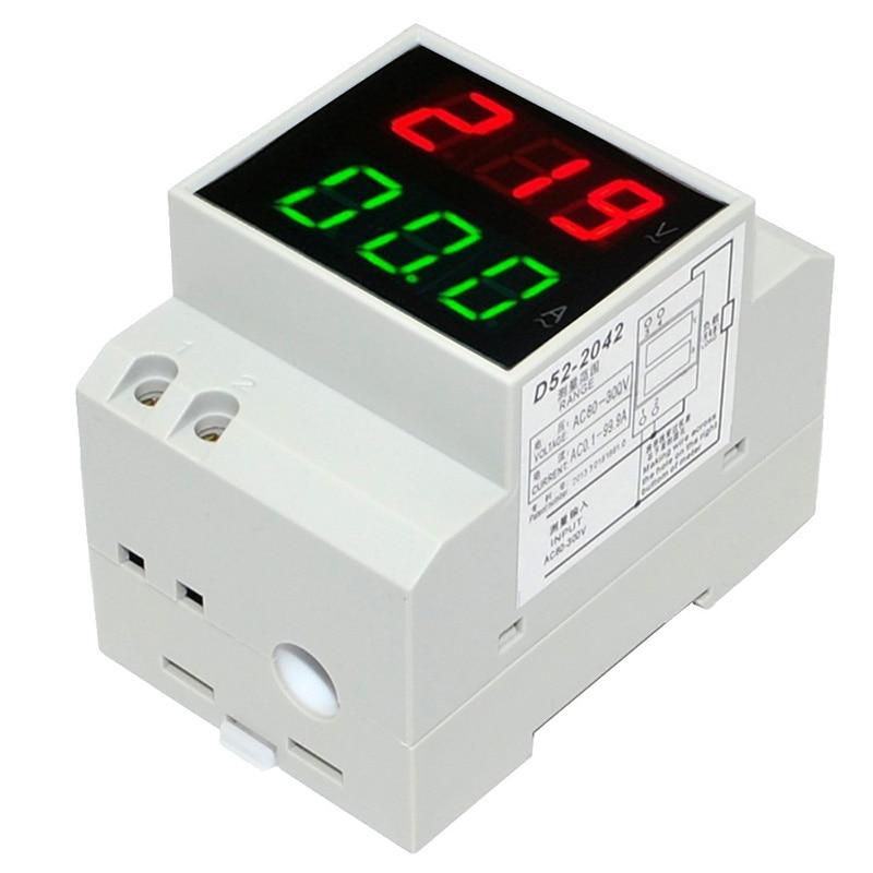 Voltímetro de pantalla LED DIN rail amperímetro transformador integrado AC80-300V 200-450V 0-100 a Panel medidor de corriente de voltaje