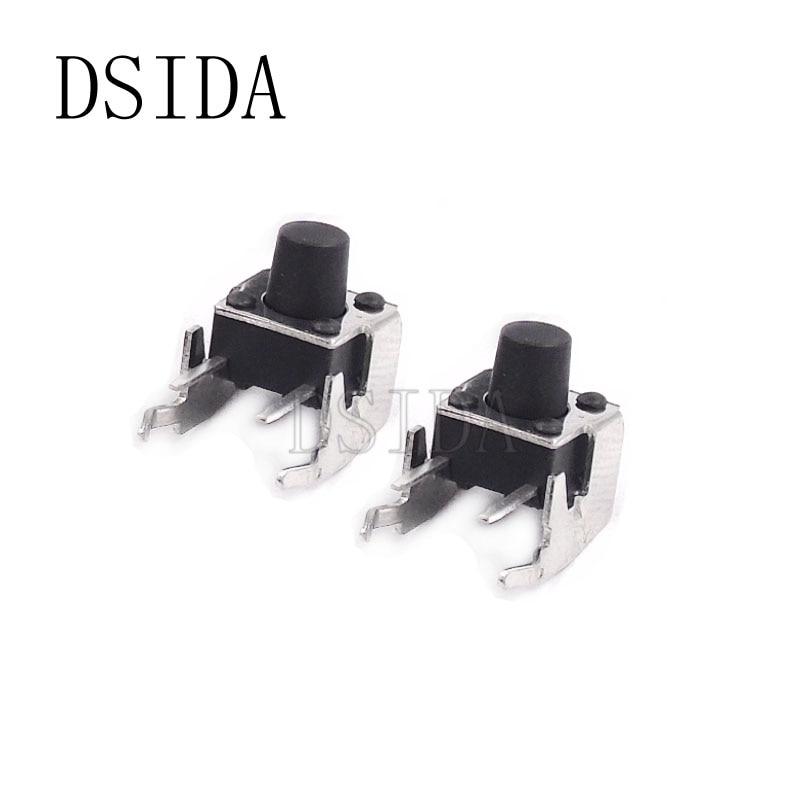 Interruptor de botón táctil 20 piezas momentáneo 6*6*7mm ángulo recto con stent 6x6 interruptor táctil de 7mm para PCB
