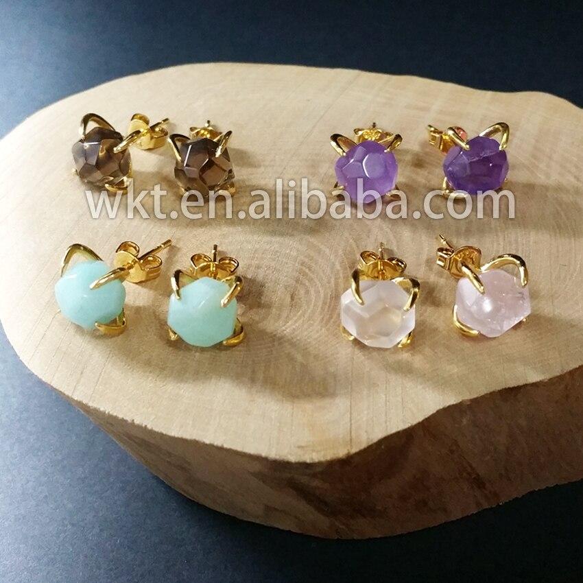 WE-E123 جميل مجوهرات 24k الذهب تريم الوردي الكوارتز امازونيتي حجر الكريستال أقراط العقب شحن مجاني