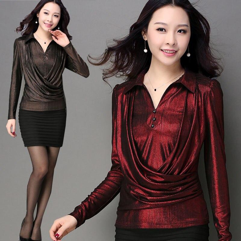 Blusa de purpurina plisada de lana de color rojo vino elegante para mujer de oficina primavera Otoño, blusas de manga larga de moda 2019 para mujer 4xl