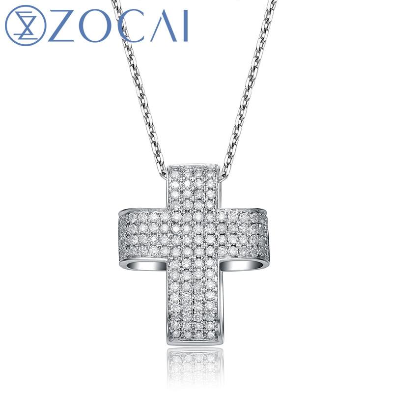 ZOCAI choker CROSS 0.60 ct genuine diamond118K white gold pendant with 925 silver chain necklace D00900