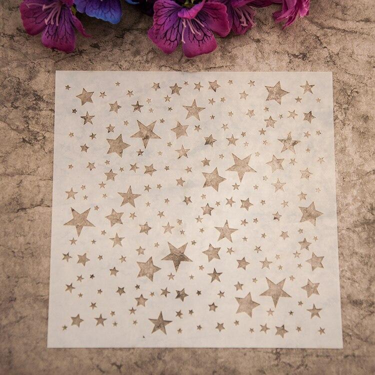 Diy color en la pared o tela, etc. pintura pequeña estrella enmascarar dibujo y pintura en aerosol suministros de Arte de galería plantilla conjunto de dibujo
