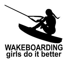 16.5CM * 15.2CM wakeboard filles faire mieux poussin Stylings drôle fille bateau vinyle décalcomanies voiture autocollants noir argent C8-0911