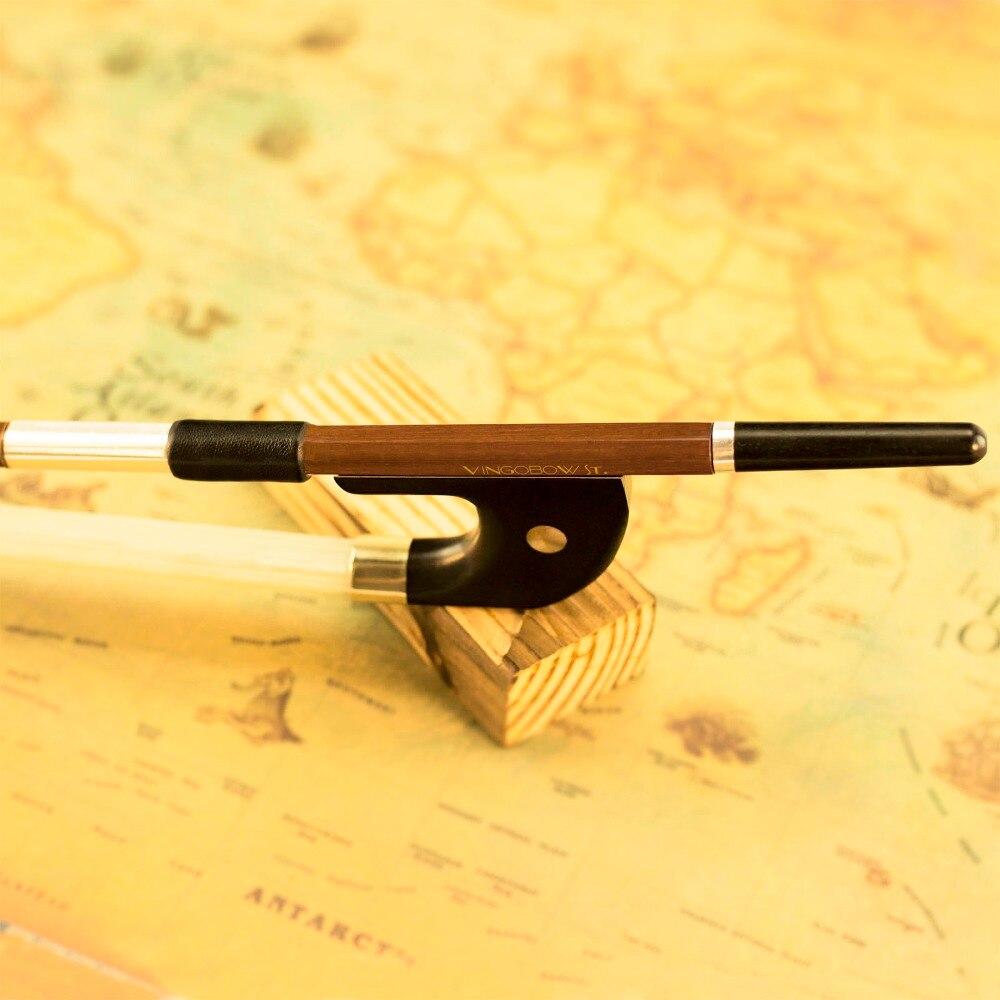 VingoBow 1/4 Szie modelo alemán lazo de graves vertical Brazilwood rana de ébano níquel plata parte Natural CRIN 300BG 70cm tono cálido