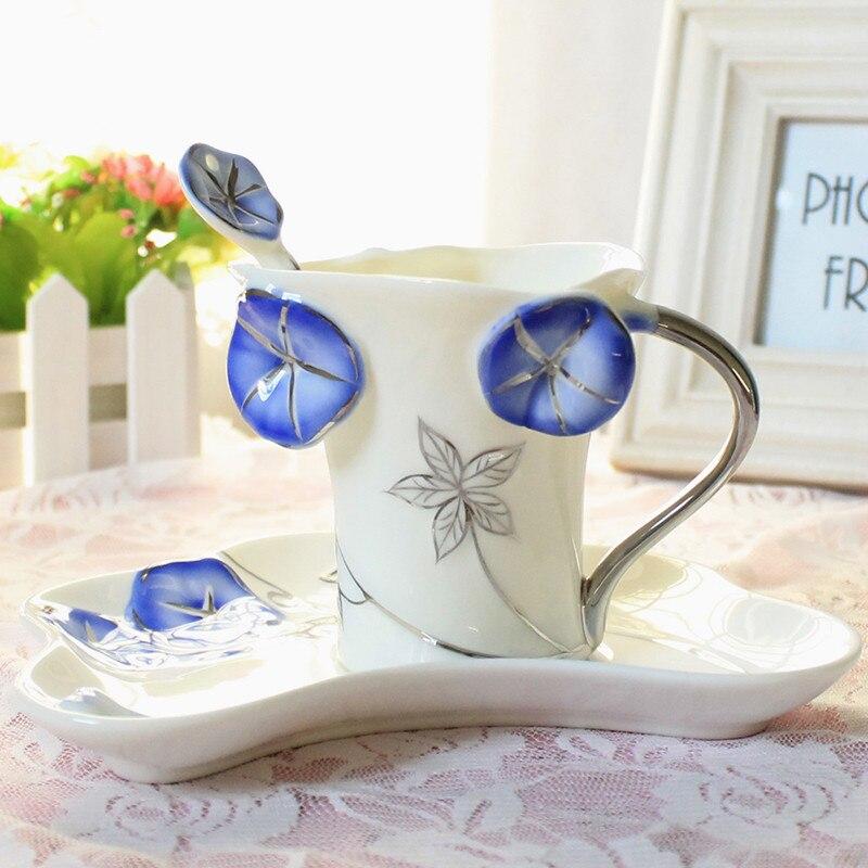 Tazas de café y platillos de porcelana esmaltada, cucharas de regalo creativo, tazas de porcelana de hueso, Semen Pharbitidis, regalo del Día de San Valentín