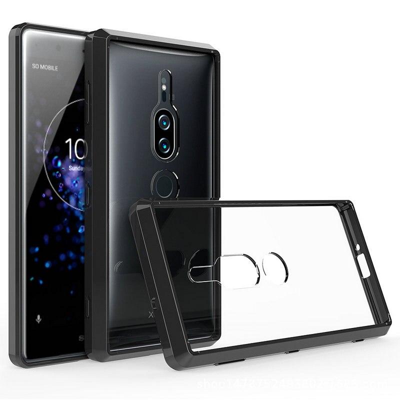50 pçs/lote Moldura Suave À Prova de Choque Hard Case Transparente Para Sony Xperia XZ2 XZ2 Compacto Premium XZ1 Compacto