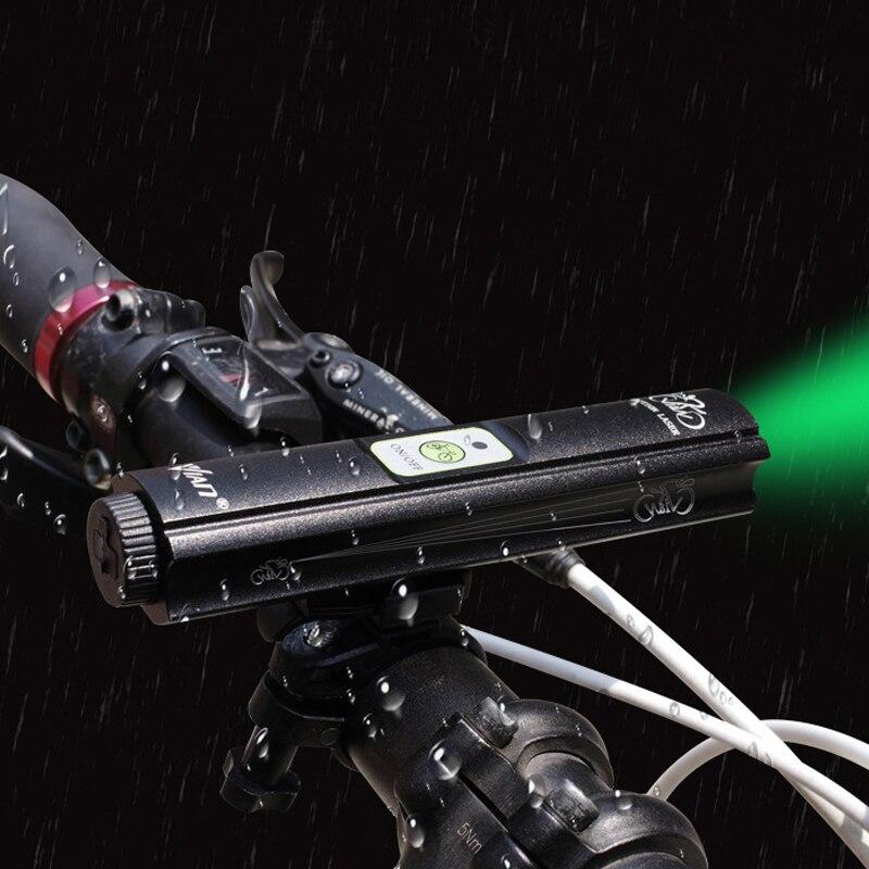 Proyector láser verde luz frontal de bicicleta carga USB Luz LED batería integrada MTB lámpara de bicicleta de carretera para ciclismo