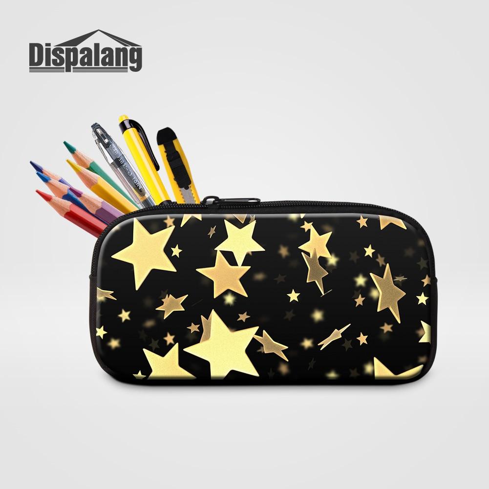 Dispalang, Mini estuche para lápices para niños, bolsas para bolígrafos para escuela, estampado de estrellas doradas, estuche para cosméticos para mujeres, estuche de papelería para niños, bolsa para oficina