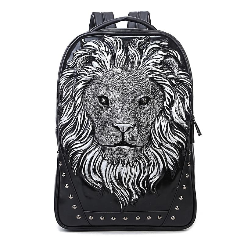 2020nuevo bolso de hombre tridimensional animal cabeza de león remache PU mochila portátil mochila King medium