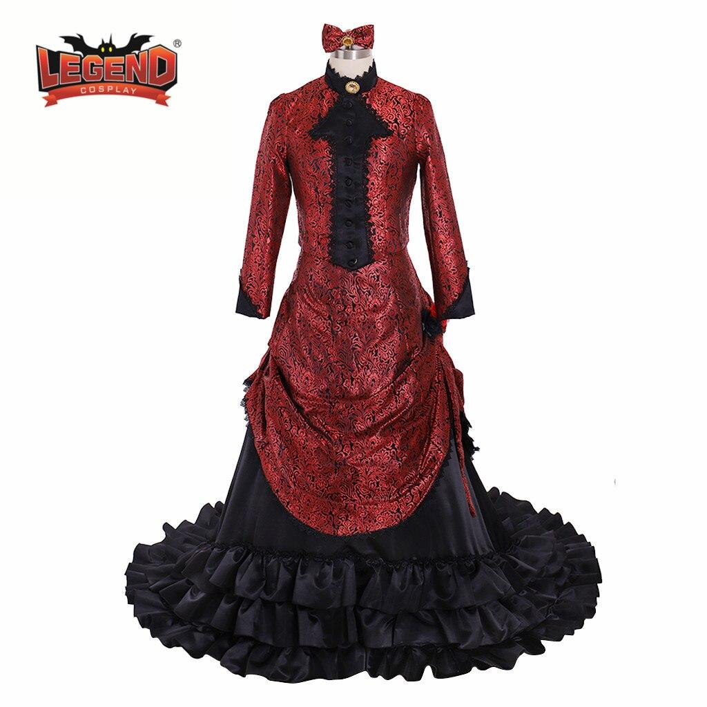 Vestidos vitorianos Bustle vestido Vestidos de Baile Trajes Reenactment medieval Gótico do Steampunk Bustle vestido vestido vestido vestido vermelho