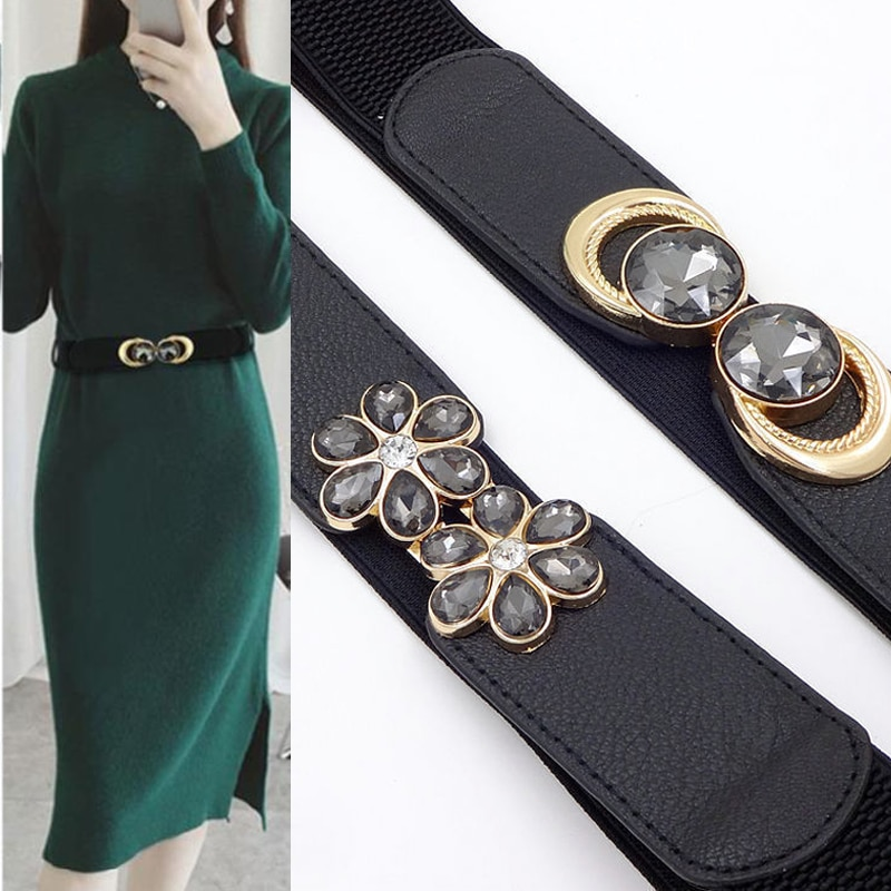 new womens wide belts Dress wild fashion decoration ladies wide belt high-grade black buckle elastic waist belt harajuku funny rectangle buckle embellished furry wide waist belt