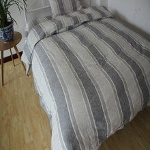 Striped Gray Washed Linen Duvet Cover Set King Size Pure Linen Bedding Set Flax Bed linen Sheet set Sheets Shams 4pcs Christmas