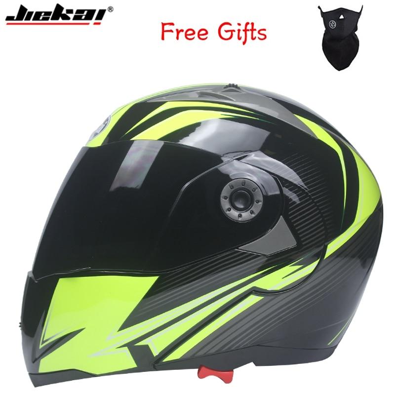 Casco de motocicleta de doble cristal profesional Jiekai Flip Up casco de moto disponible con gafas de sol negras internas