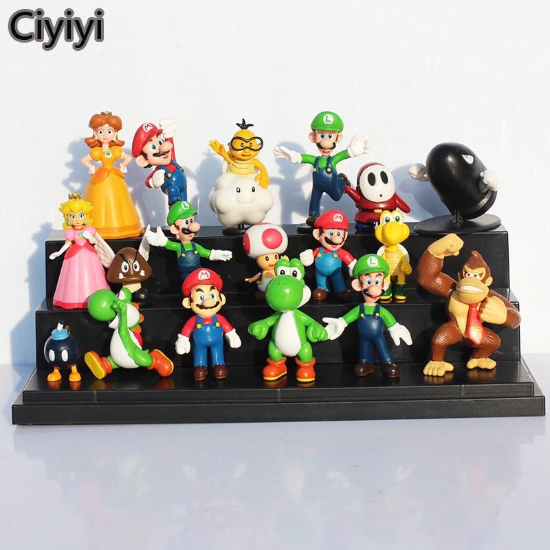 18 pcs/lot Super Mario Display Collection Toys Cartoon Mario Bro Anime Figure Doll Children Birthday Xmas Brinquedos Gift