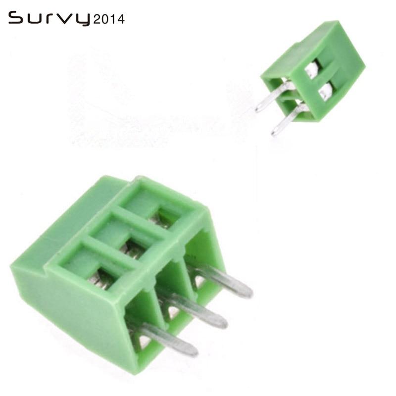 10 pces kf120-2.54-2P 3 p 2.54mm passo em linha reta pino pcb parafuso bloco terminal conector 2pin 3pin verde kf120 2.54 2 3 pinos