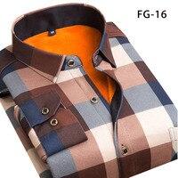 Рубашка Aoliwen Мужская теплая с длинным рукавом, бархатная утепленная Модная рубашка в клетку, брендовая Классическая рубашка, зима sizeL-5XL