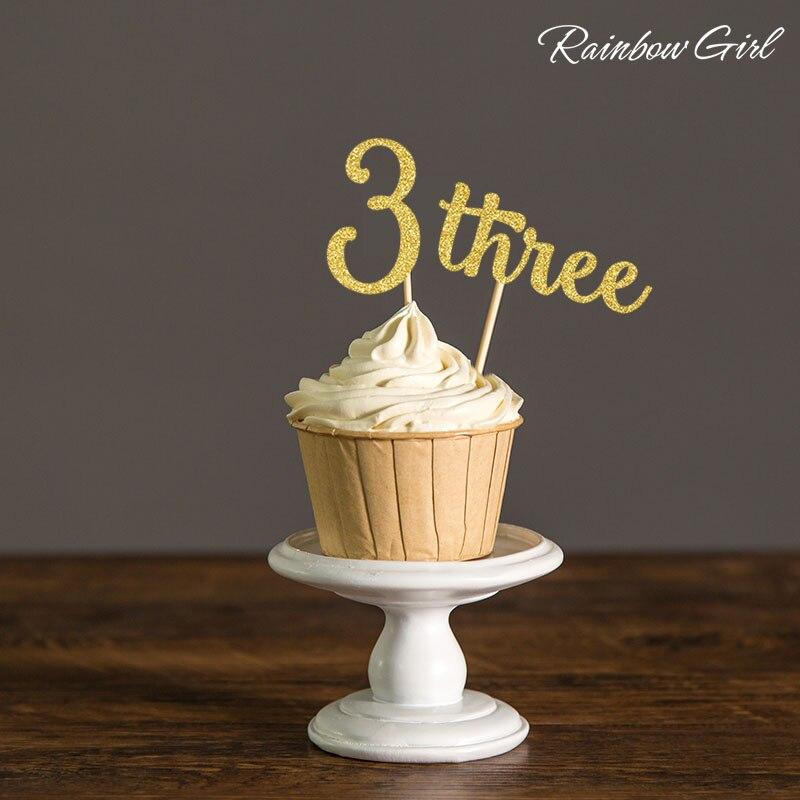 Adornos para cupcakes con brillo de oro/plata número tres-suministros de decoración para fiesta de cumpleaños de niños de 10 Uds.