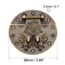 Uxcell antyczny brąz mosiądz drewniane pudełko Hasp w stylu Vintage dekoracyjna biżuteria prezent pudełko walizka zatrzask hak meble przełącz