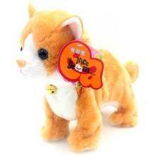 Robot gatos juguetes de Control de sonido soporte de juguete electrónico caminar Mew gato interactivo suave gato de peluche juguetes para niños regalos de cumpleaños
