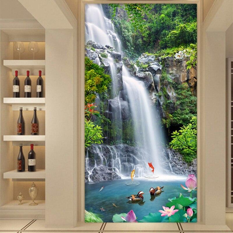 Настенные 3D-обои с изображением водопадов, природного ландшафта, Настенные обои для гостиной, входа в гостиницу, фоновое покрытие для стен 3 D