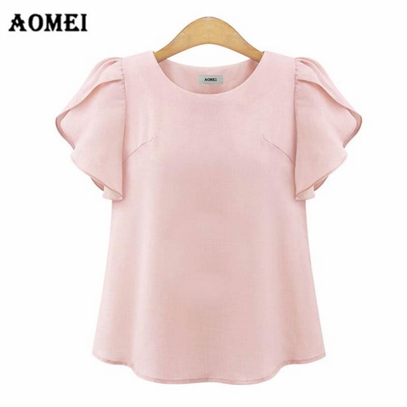 Camisetas dulces para chicas para mujeres 2019 Tops de verano pulóver Feifei manga femenina Casual gasa Oficina señora Tops elegante T camisas