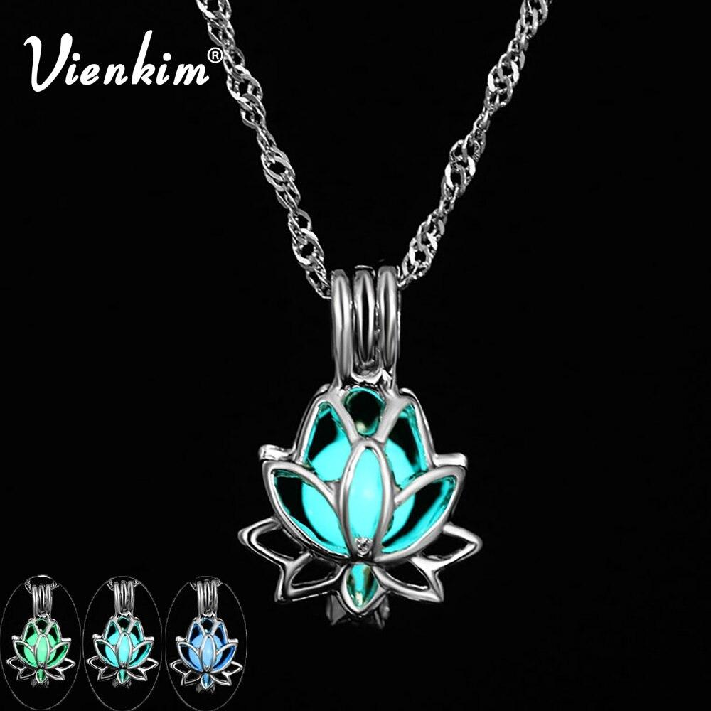 Vienkim moda budista lótus pingente luminoso 3 cores charme pingente pedra incandescente dark statement colar festa jóias yoga