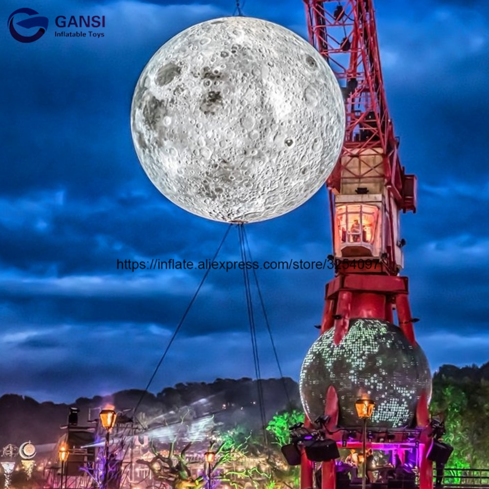 Popular inflatable planet toy hanging inflatable moon ball festival decoration inflatable lighting moon for show christms decoration inflatable clown