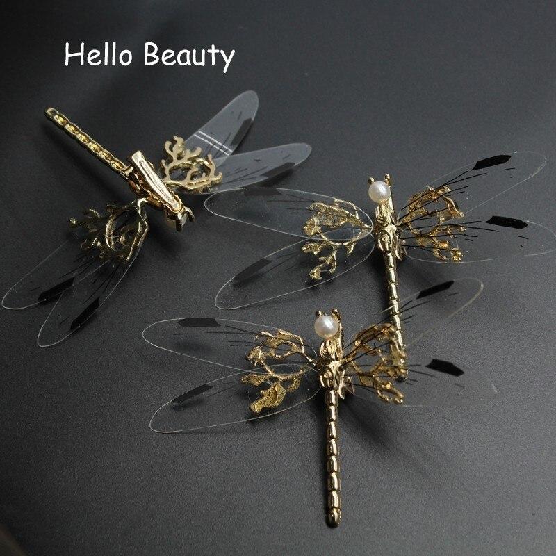 Оригинальная металлическая заколка для волос для невесты, 3 шт., заколка для волос с жемчугом, заколка для волос с животными, Шпилька со стрекозой для женщин, аксессуары для головы невесты