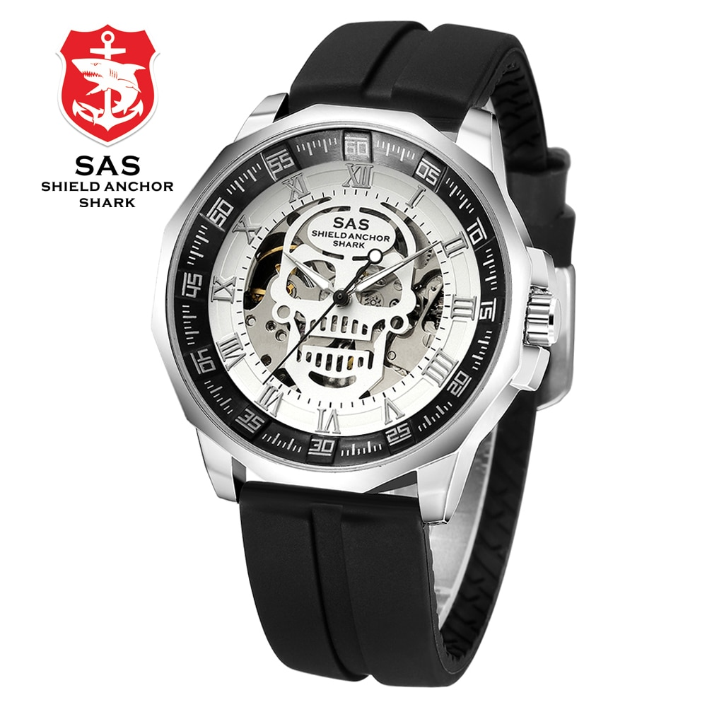 SAS escudo ancla tiburón reloj hombres reloj mecánico calavera esqueleto relojes reloj de pulsera relogio masculino
