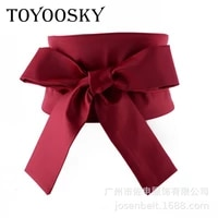 2019 new arrival europeans style women belt with double bow tie and waistband decorate seals with super wide cloth toyoosky